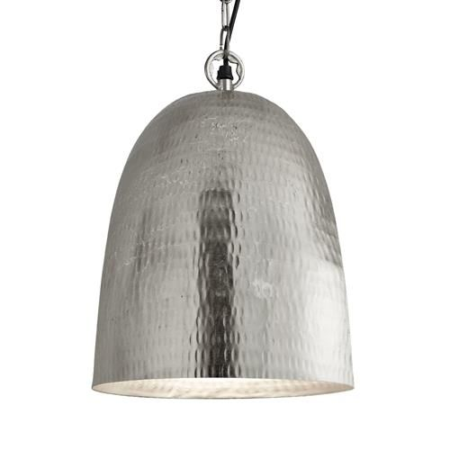 Searchlight 2093-26SS Matt Nickel Hammered Single Lamp Bell Pendant Ceiling Light with Suspension 26cm (Searchlight 2093-26SS) - www.discounthomelighting.co.uk
