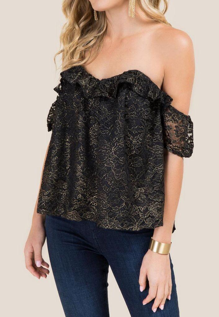 Demi Foil Lace Bustier Top  size M
