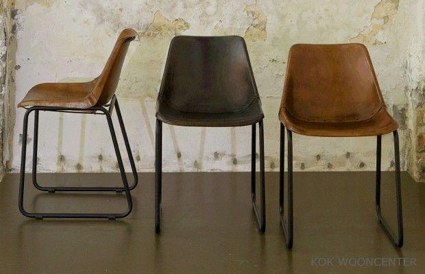 Be Pure stoel Rough 119 euro, lederen kuipstoel met metalen poten