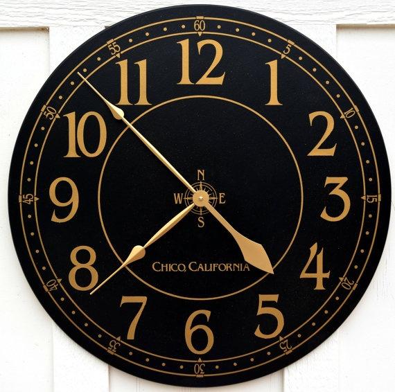 30 Black and Gold Custom Large Wall Clock by WallClockDesigns, $115.00