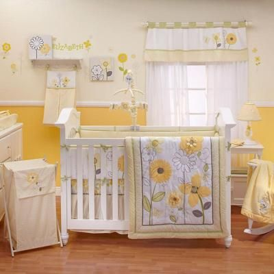 Yellow And White Flower Appliqued Nursery 9pc Baby Girl