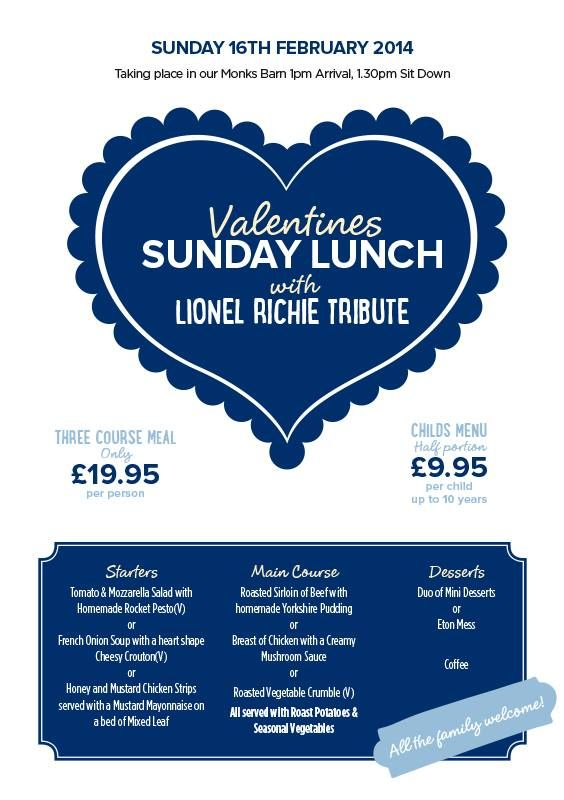 By Ye Olde Plough House @YeOldePlough Bookings now being taken for our Valentines Sunday Lunch with Lionel Richie Tribute.. Only £19.95 per person. Contact our Events team on 01375 891592 to make your Reservation. http://www.yeoldeploughhouse.co.uk/