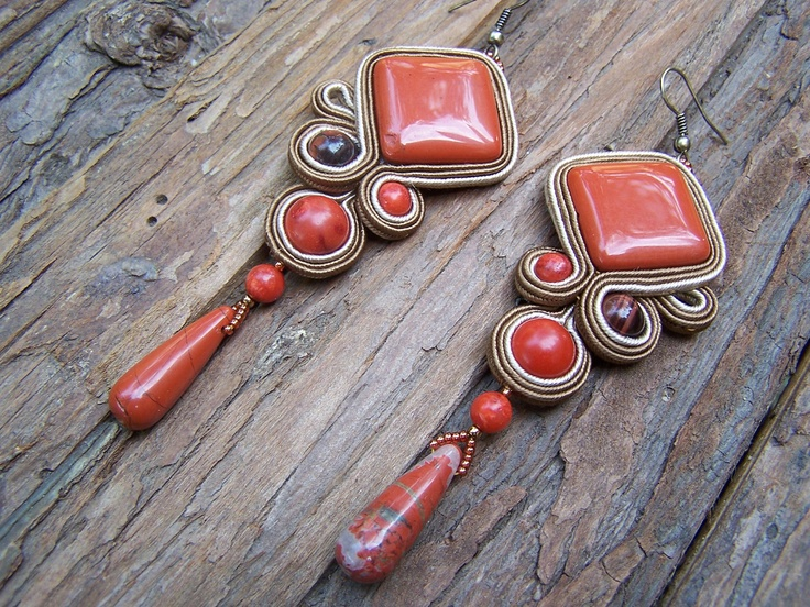 Soutache Jewelry. Red Jasper Earring. Autumn colors. Brick red, light and dark brown. OOAK.. $75.00, via Etsy. CORAL.