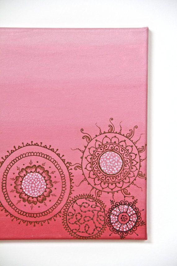 "Pinky-Peach Ombre Mandala Henna Canvas - 12"" X 12"""