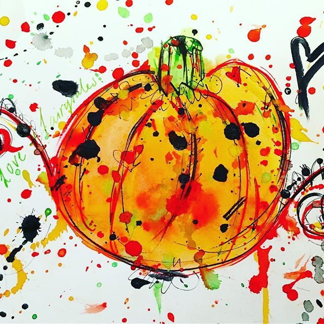 """""""Love and fairytales """". It is that time of year already . #halloween #dailypractice #pumpkin #watercolour #creativefun"""