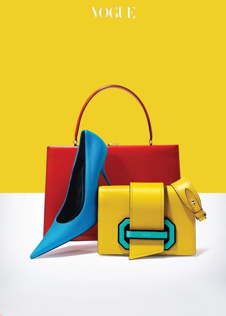 빨간색 가죽 토트백은 셀린(Céline), 스판덱스 소재 펌프스는 발렌시아가(Balenciaga), 에메랄드색 잠금장치가 돋보이는 노란색 플랩 백은 프라다(Prada).