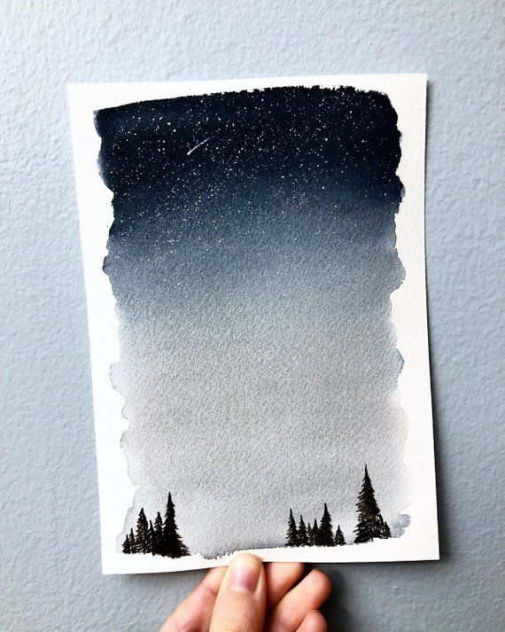 Watercolor Landscape Painting Night Sky Painting Optional Custom Quote Forest Painting Custom Fo Night Sky Painting Watercolor Night Sky Sky Painting