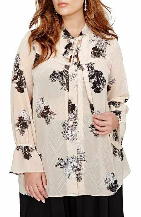 7238d00c241add Plus Size 22 Floral Blouse Boho Bell Sleeve Top Gypsy Hippie Style   MichelStudio  Blouse  Everyday