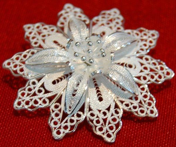 silver filigree brooches