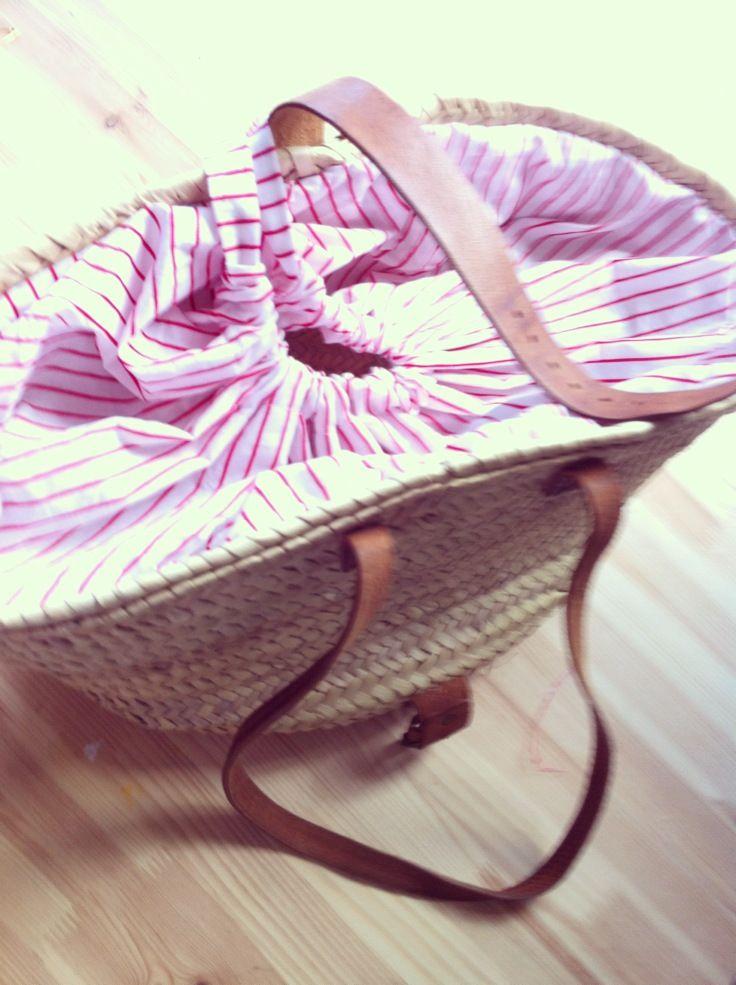 Para cerrar un capazo ideas pinterest bags beaches and beach bags - Como forrar cestas de mimbre ...