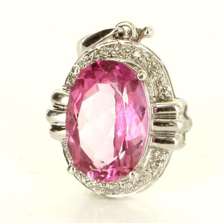 Ruby Lane 50% Off Red Tag Sale! Estate 14 Karat White Gold Diamond Pink Topaz Cocktail Pendant Fine Jewelry Used