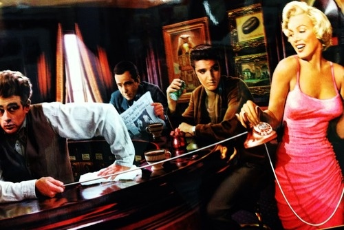Elvis Presley, Humphry Bogart, James Dean and Marilyn Monroe chillin' at the local dive bar. Print art at K-Mart.