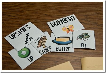 Compound Word Sort and Match (link to free printables).  Combine two words/pictures to make a new word & then match it up to the compound word card. When finished with the matching, make little compound word flip books.