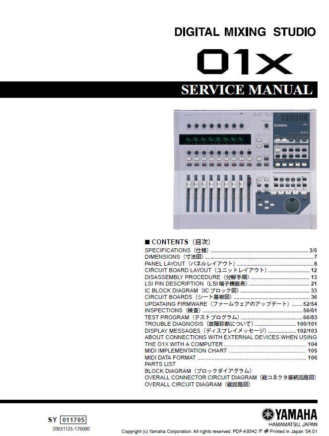 Yamaha 01x Digital Mixing Studio Service Manual And Repair Instructions Repair Guide Repair Circuit Board