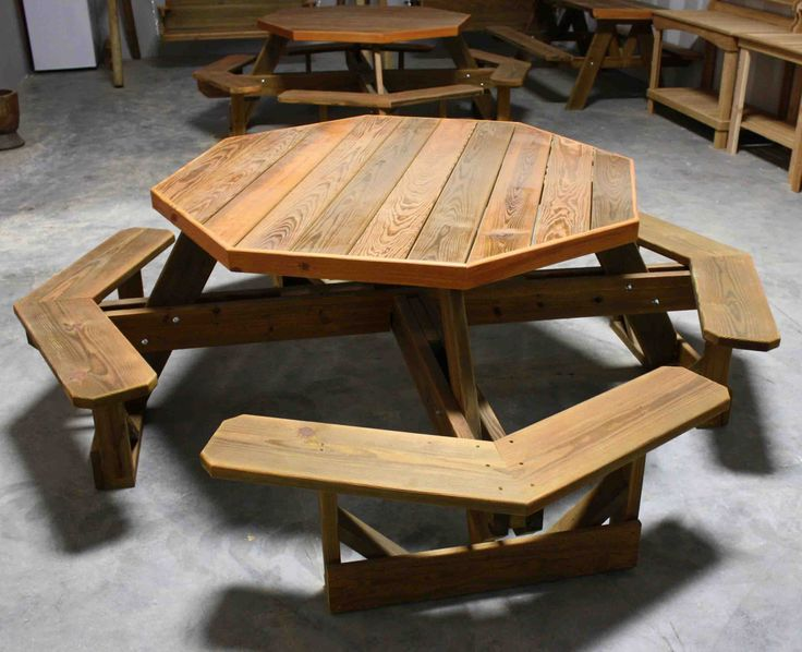 this 5 ft octagonal picnic table is made of grade hand picked acq treated lumber top is made of 1 thick decking and hand picked for