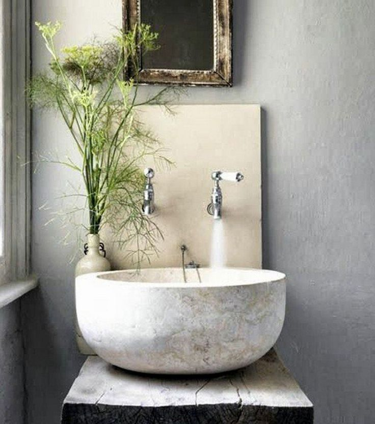 powder room sinks – bowl shaped stone vessel sink …