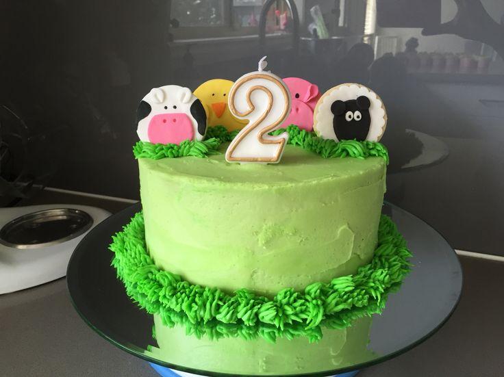 Farmyard Animals Birthday Cake - chocolate mud with buttercream icing. Happy Birthday Zahra! March 2015