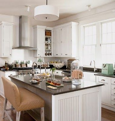 #kitchens: Beads Boards, Countertops, Kitchens Ideas, Beadboard, Kitchens Islands, Cozy Kitchens, New Kitchens, White Cabinets, White Kitchens