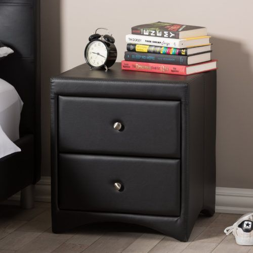 Dorian Black Modern Nightstands With Drawers, Faux Leather Upholstered Design, Baxton Studio