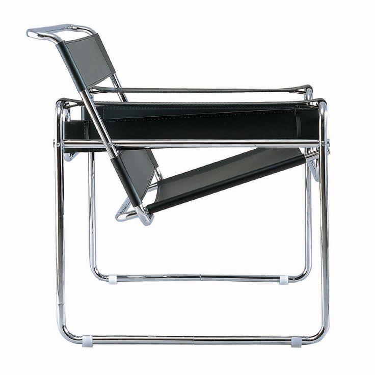 Wassily Chair. Diseño de Marcel Lajos Breuer.  Se trata de su obra más conocida, una silla tubular compuesta de acero curvado, donde se destaca la influencia de Thonet.