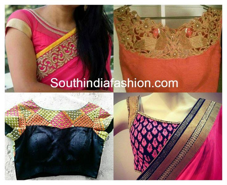 boat neck saree blouse designs