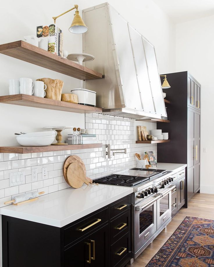Amazing Kind Of In Love With The Black Cabinets. Modern Kitchen With Vintage Rug,  Subway Tile Backsplash, Open Shelves And Black Cabinets With Brass Hardware. Part 32