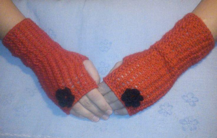 fingerless crochet gloves  merino wool