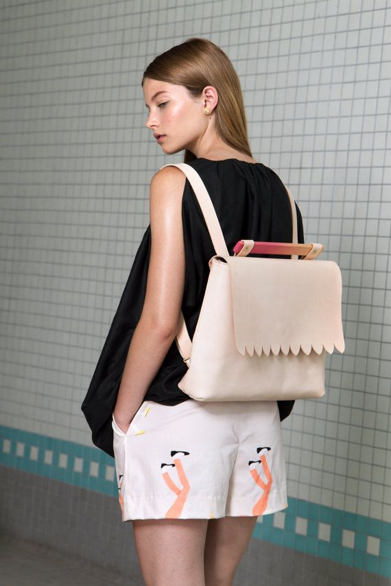 NEW . Scalloped Nude Backpack . Spring Fashion by noemiah on Etsy