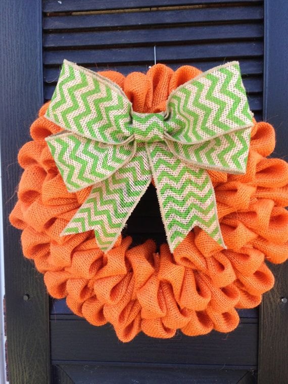 "Orange Burlap ""Pumpkin"" Wreath with Green Chevron Burlap Bow, Fall Wreath, Thanksgiving Decor, Harvest"