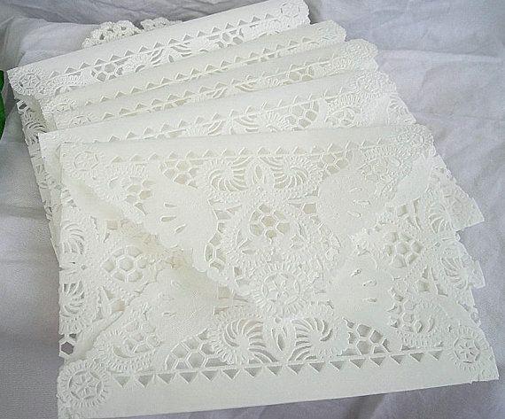 Vintage Doily Paper Lace Envelopes, Handmade, White, Wedding Invitation Liner, Tea, Shabby Chic, 33 Piece Set