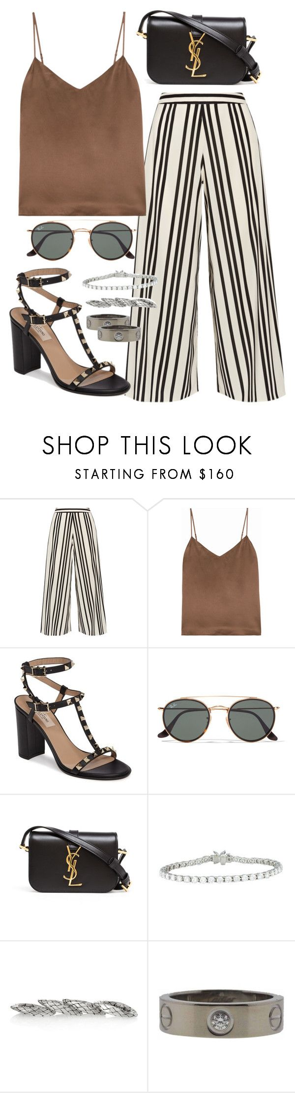 """Untitled #1362"" by carolineeeeeeee ❤ liked on Polyvore featuring Alice + Olivia, L'Agence, Valentino, Ray-Ban, Yves Saint Laurent, Tiffany & Co., Bottega Veneta and Cartier"