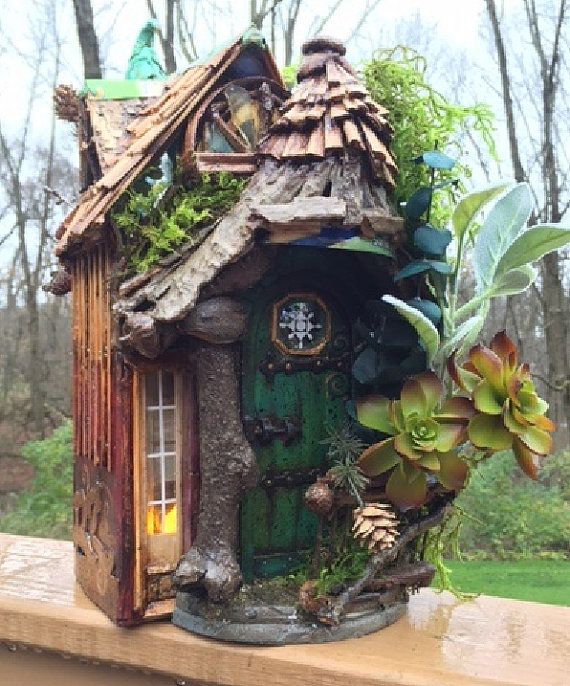 Curled Mossy Awning Fairy Door and House di CindiBee su Etsy