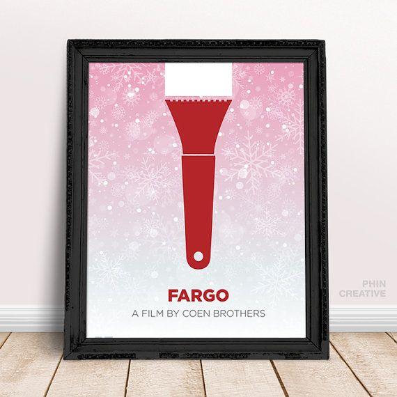 FARGO minimalistischen Filmposter, Home-Office-Dekor, Coen Brothers Film Kunst, minimalistisch Geschenk Idee Geburtstag Weihnachtsgeschenk, minimalistischen Filmkunst