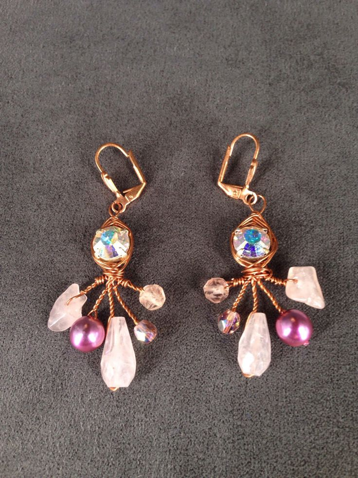 Pretty Pink Rose Quartz and Copper Dangle Earrings, Copper Wire Crystal Rhinestone Chandelier Earrings by TrinesTreasures on Etsy