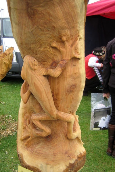 a unique totem in the making out of Douglad Fir, but it is carved by chainsaws and hand tools, unlike original totems that are carved with hand tools only
