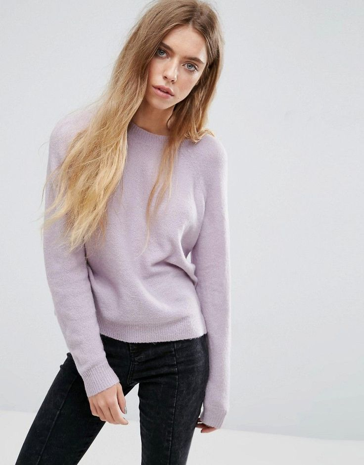 ASOS Sweater In Fluffy Yarn With Crew Neck - Purple
