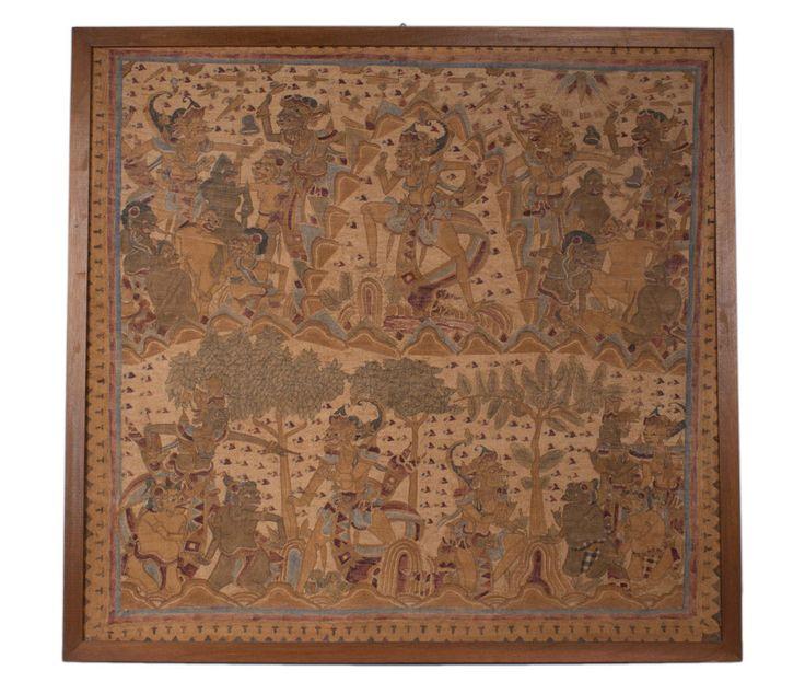 Indonesien 20. Jh Große Balinesische Malerei auf Tuch (langse) Balinese Painting