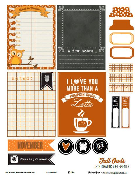 Free Fall Owls Journaling Cards and Labels from Vintage Glam Studio