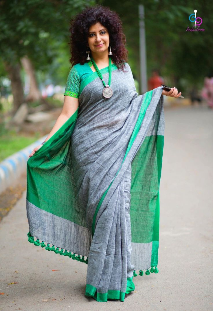 Grey and Green Handloom Saree