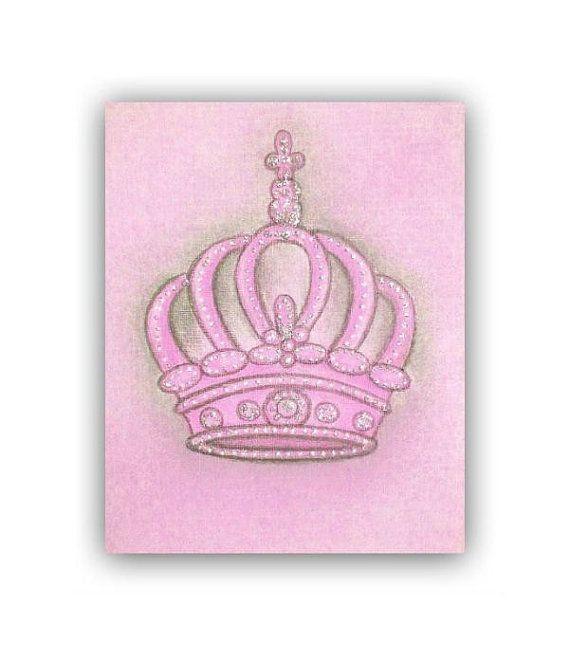 Princess Crown Pink Nursery Decor Nursery Prints Kids Wall