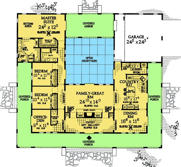 u shaped house plans with central courtyard change left wing to 2 larger bedrooms with bath