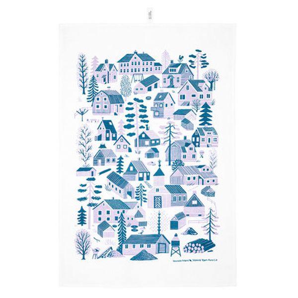 Kauniste's Mökkilä tea towel, blue