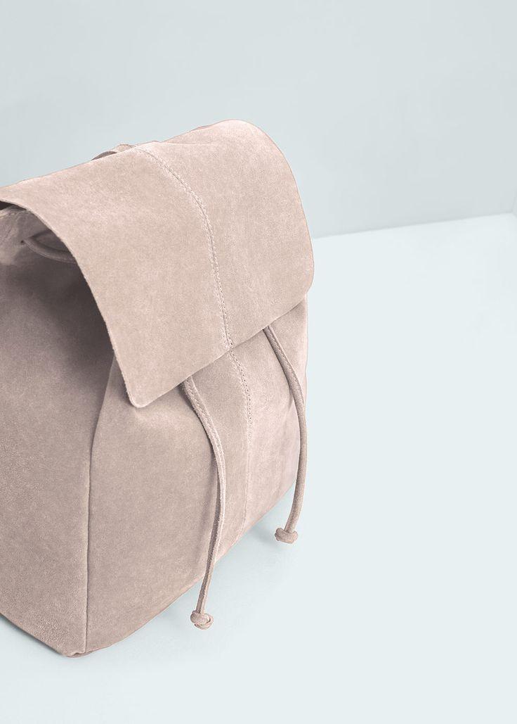 Hajtókás bőr hátizsák | MANGO