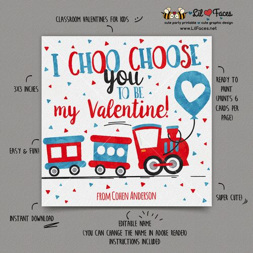 INSTANT DOWNLOAD - EDITABLE Valentine's day Cards I Choo Choose you kids Valentines Day cards Valentine's classroom Card Train Valentines day Cards