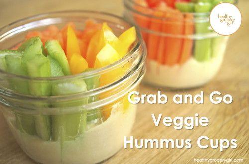 Grab and Go Veggie Hummus Cup http://healthygrocerygirl.com/veggie-hummus-cups/