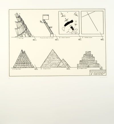 Ilya and Emilia Kabakov Projects and Structures Made Taking Into Account the 60-Degree Angle (the Angle of Cosmic Energy), 2003 28 1/3 x 30 3/4 inches Portfolio with 25 etchings (1 hand colored and 5 text pages) Gift of the artists