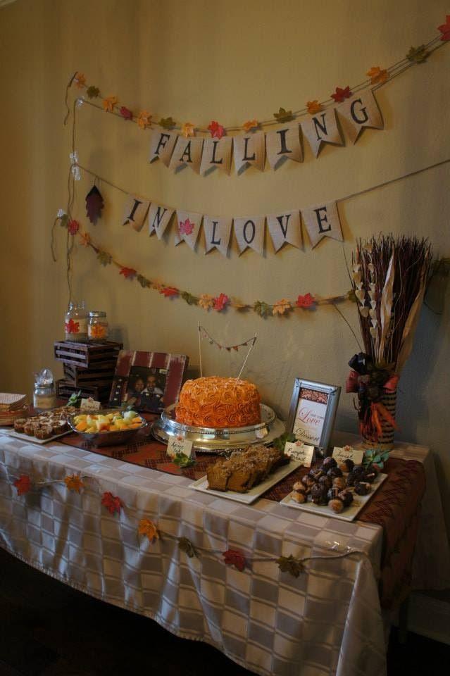fall bridal shower dessert table
