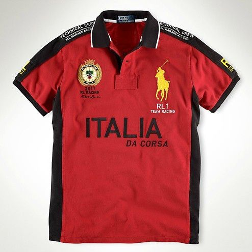 Men  s Custom Fit RL Racing Polo With ITALIA in Red   Polo by Ralph ... 23096357a27