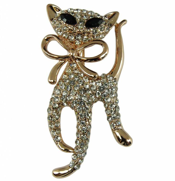 Brož štrasová kočka 5737   Bižuterie Kozák