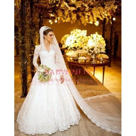 Long Full Sleeves Vestidos De Noiva A Line Wedding Dress 2015 Appliques Embroidery-  Sheer Back Go To www.theweddingboutique.co